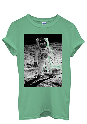 Spaceman Astronaut Cool Men Women Damen Herren Unisex Top T Shirt Grün