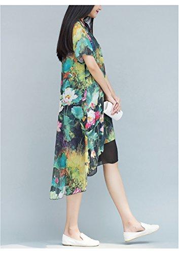 Womens Elegant Crew Neck Blumenmuster Unregelmäßige Fake Zwei Zwei Layer  Baumwoll Leinen Kleid Grün