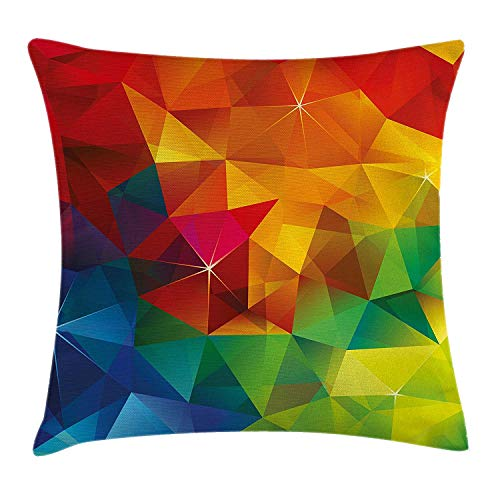 Geometrical Throw Pillow Cushion Cover, Modern Rainbow Ombre Colored Design with Shap Edgest Triangles Image Print, Decorative Square Accent Pillow Case, 18 X 18 Inches, Multicolor