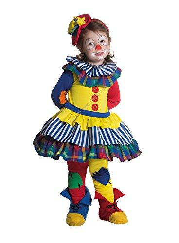 Costume maschera carnevale clownetta clown bimba femminuccia 1 - 2 anni (misura spalla-terra 75,50 cm)