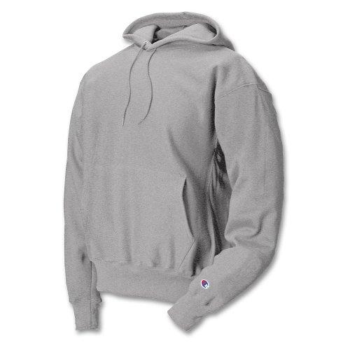 Adult Hooded Fleece (S101 Champion Adult Reverse Weave Hooded Pullover Fleece, Silver Gray/Grey,)