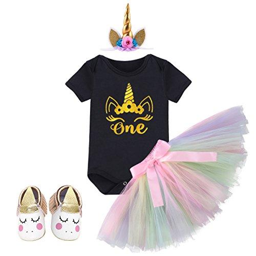 OBEEII Baby Mädchen 1. Geburtstag Outfit Einhorn Party Kostüm Neugeborenen Prinzessin Kleid Einhorn Strampler + Regenbogen Tutu Rock + Einhorn Stirnband + Einhorn Schuhe 4PCS Set für Kleinkind Kinder