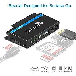 Surfacekit USB C Hub pour Surface Go, 4K 1080p HDMI, USB 3.0, Lecteur de Carte SD/TF, Slot Push pour Pen Drive, Micro USB DC pour périphérique Externe Voyagez Bien, Surface Go Edge Shape