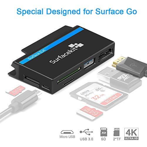 Surfacekit USB C Hub für Surface Go, 4K 1080p HDMI, USB 3.0, SD/TF Kartenleser, Push-Slot für USB Stick, Micro USB DC für externes Gerät Reisefreundlich, Oberfläche Go-Kantenform eng anliegend Folie Usb