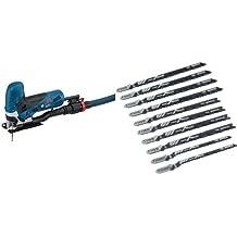 Bosch GST 90 - Sierra eléctrica (2,3 kg) + 2607010629 Pro Line - Juego de hojas de sierra de calar (10 unidades, para madera)