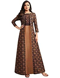 Jigss Women's Silk & Manipuri Print Floral Dress Come Kurti (LT_Brown)