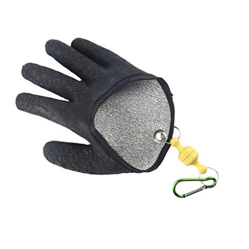 BESPORTBLE Fang Fischhandschuhe rutschfeste Faden Gewebte Fischerhandschuhe Anti-Fischgräten-Handschuhe für Fischer Indoor Outdoor Jagd (Schwarz)