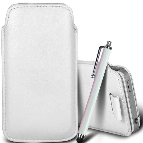 Brun/Brown - Alcatel Pop D1 Housse deuxième peau et étui de protection en cuir PU de qualité supérieure à cordon avec stylet tactile par Gadget Giant® Blanc/White & Stylus Pen