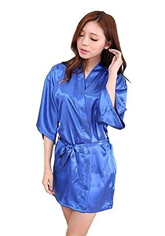 Honeystore Damen Morgenmantel glatte Satin Nachtwäsche angenehmer Bademantel Kimono Negligee Seidenrobe locker weicher Schlafanzug Glanz Look kurz Rötlich-Blau XXL