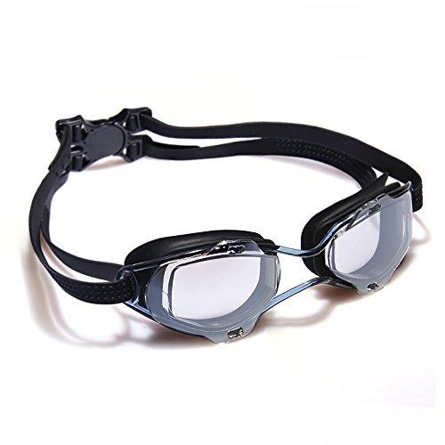 Lechuang home yx shop occhiali da nuoto occhiali professionali equipaggiamento hd trasparente grande cornice specchio subacqueo impermeabile antiappannamento (colore : black)
