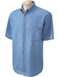 Harriton M550S Short-Sleeve Denim Shirt