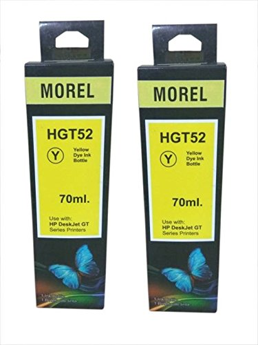 MOREL GT52 Ink for USE in HP Inkjet GT5820 / 5810 / GT5861 Printer Color Yellow Pack of 2