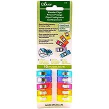 Clover 3185 Stoffklammern, 10-er Pack, farbig sortiert