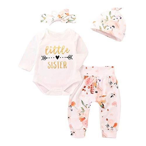 IMJONO T-Shirts et Pantalons pour bébés, Fashion Girl Boy Lettre Imprimer 4 Pcs Outfits Ensemble de vêtements (0-6 Mois, Blanc)