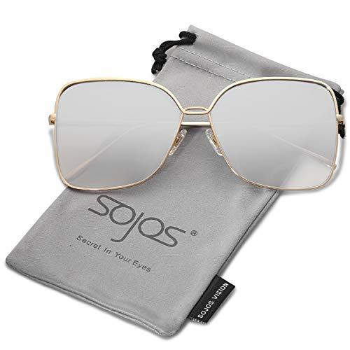 SOJOS Damen Sonnenbrille Neue Modell Metall Flach Linsen Groß SJ1082 mit Gold Rahmen/Silber verspiegelte Linse