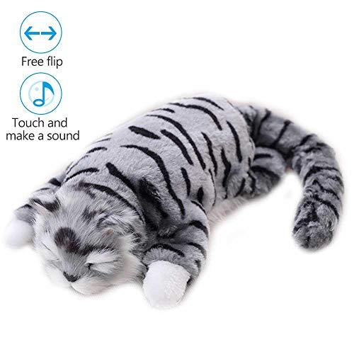 atze, Plüsch-Spielzeug, rollende Plüsch-Spielzeug für Kinder im Alter von 2-10 Jahren, Plüschtier Katze mit Sound, für Jungen und Mädchen, Geburtstag grau ()