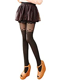 Westeng Collants Femme Collants Fantaisie Collants Motif de Cœur Collants  Noir pour Femme 11a1817641f