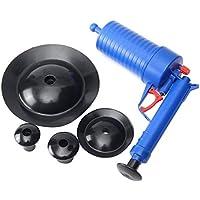 JohnJohnsen Alta Presión Drenaje Aire Blaster Limpiador de plástico ABS rastra de la tubería Sanitarios Tuberías y desagües tapados con 4 adaptadores (Azul)