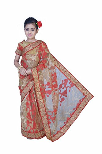 Pratima Girl's Ethnic Party Wear Tassar and Red contrast Tissue Ready to...