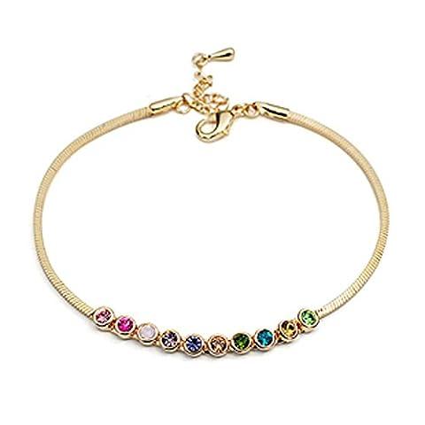 Ms couleur cristal bracelet de cheville/ Version coréenne de la chaîne élégante et minimaliste-A