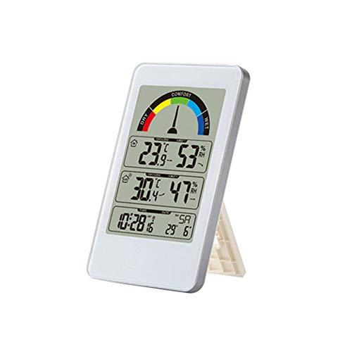 ZUHN Tragbare LCD Digitale Wetterstation Uhr Multifunktions Haushalt Indoor Outdoor Temperatur Hygrometer Wetter Uhr Elektronischen Alarm,White