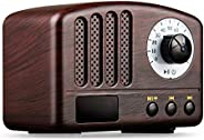 Vintage Radio Retro Bluetooth Speaker- Wooden FM Radio with Old Fashioned Classic Style, Strong Bass Enhanceme