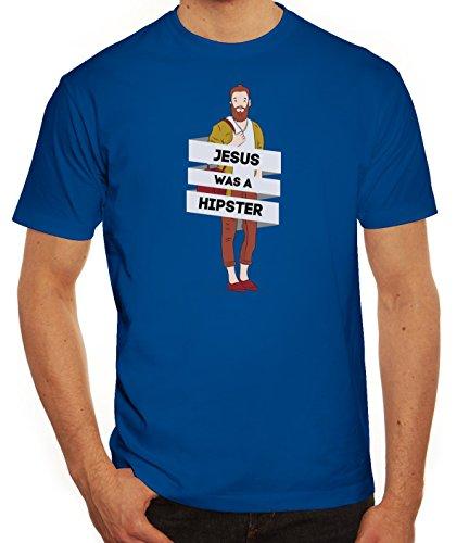 Herren T-Shirt mit Jesus Was A Hipster Motiv von ShirtStreet Royal Blau