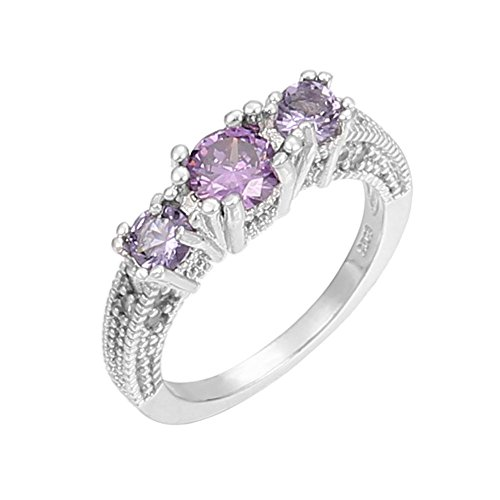 Zibuyu Snowflake Zircon Crystal Ring Fashion Women Wedding Jewelry Ring(Purple)(9)