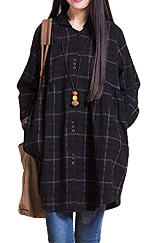 Voguees Women's Autumn Plaid Shirts With Front Buttons Black M