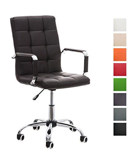 CLP Bürostuhl Deli V2 mit Kunstlederbezug und Hochwertiger Polsterung | Drehstuhl mit Höhenverstellbarer Sitzhöhe | in Verschiedenen Farben erhältlich Braun
