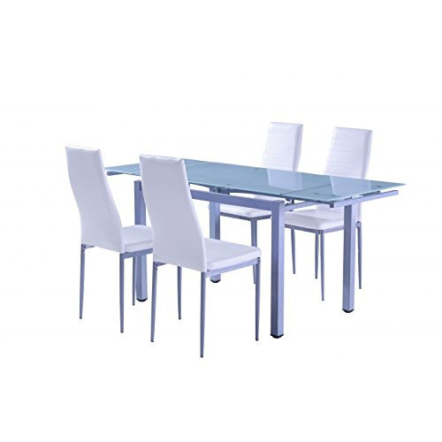 AMUEBLALO - Mesa de comedor extensible en cristal 8mm Lucero.