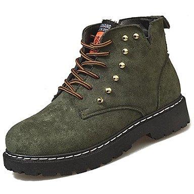SANMULYH Scarpe Donna Pu Primavera Cadono Comfort Stivali Flat Per Esterno Nero Verde Verde