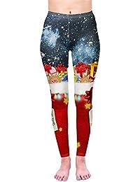 Kukubird Christmas Winter Snowflake Santa Reindeer Stocking-Filler Women's Yoga Leggings Gym Fitness Running Pilates Stretchable