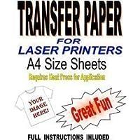 LASER Y Copiador Imprimible Camiseta & Tejido Papel Transfer para Luz Telas 10 A4 Hojas