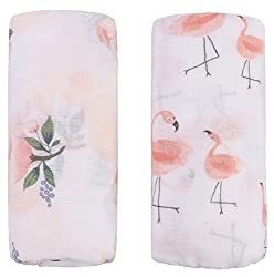 "Bamboo Muslin Baby Blanket – 2 Pack Floral & Flamingo Print"" Baby Blanket Girls, Large Soft Baby Swaddle Blanket Baby Wrap Muslin Cloths, Perfect Baby Shower Gifts (Floral & Flamingo)"