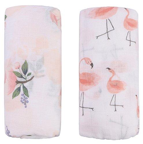 Vollständige Floralen Muster (Little Jump Musselin Decke Swaddle Pucktücher aus Puckdecken - (2 Stück, Floral & Flamingo) Bambus Baumwolle Baby Einschlagdecke, Spucktücher - weiche Baby Decken für Mädchen (Floral & Flamingo))