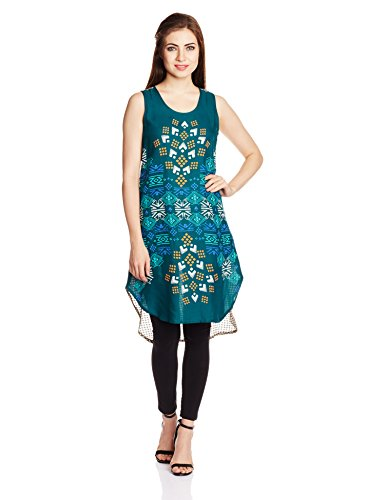 Global Desi Women's A-Line Kurta (IM351582-TU-610_Teal_Large)  available at amazon for Rs.594