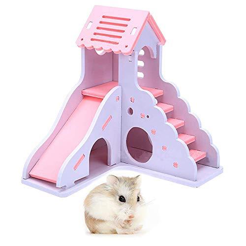 AZX Hamster House Holz Spieltreppe Rutsche Spielzeug Kleine Tiere Übung Spielzeughütte Haustier Schloss für Gerbil Rat Rabbit (Rosa) (Rutsche übung)