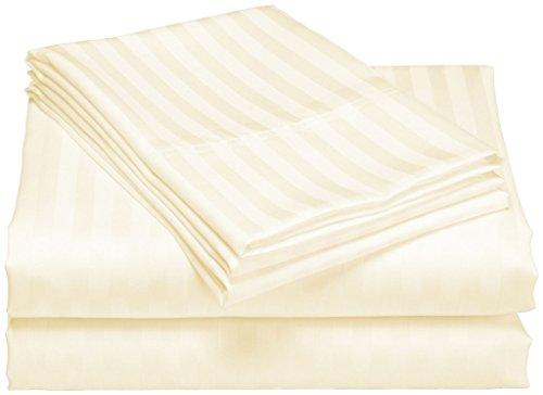 Cal-king-bett (scalabedding 800Fäden aus ägyptischer Baumwolle 30cm Pocket Spannbettlaken und Kissenbezüge für King Size Bett, Motiv Cal Elfenbeinfarben/Streifen)