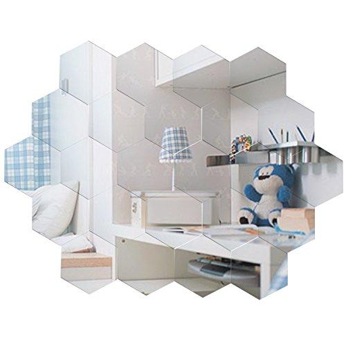 Anladia Spiegelfliesen Wandspiegel Selbstklebend, 24 Stück Hexagon-Spiegel Silber für Badezimmer, Küche, Wohnzimmer, Umkleidekabine - Hexagon Spiegel
