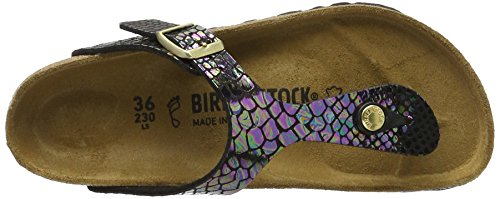 Birkenstock Gizeh, Tongs Femme Shiny Snake Black Multicolor