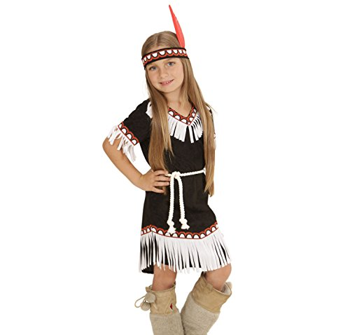Widmann 06695 - Kinderkostüm Indianerin, Kleid, Gürtel und Stirnband, Größe (Kinder Kostüme Girl Indian)