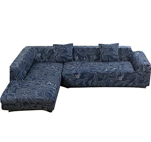 Htdirect universale divano covers for a forma di l, pezzi in tessuto poliestere elasticizzato slipcovers + 2pcs federa per divano componibile divano angolare blue