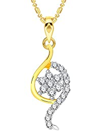 VK Jewels Shining Star Gold And Rhodium Plated Alloy CZ American Diamond Pendant With Chain For Women [VKP2570G]