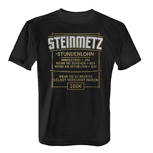 Fashionalarm Herren T-Shirt - Stundenlohn - Steinmetz | Fun Shirt mit lustigem Spruch als Geschenk Idee Stein Bildhauer Handwerk Beruf Job Arbeit, Farbe:schwarz;Größe:L