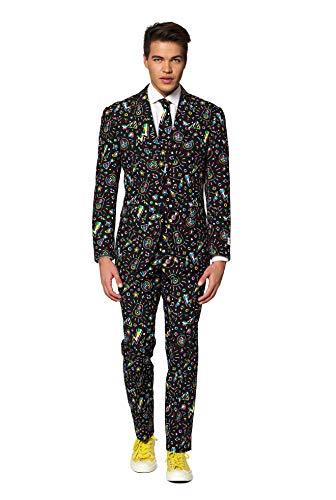 Dude Kostüm Schwarze - OppoSuits Karnevalskostüme Herren festlichem Druck Anzug mit Krawatte, Disco Dude, 56