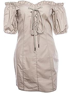 GAOLIM Una Palabra Hombro De Vestir El Hongo Puff Camisa Femenina Falda, S, Caqui