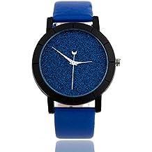 Reloj Longra Star Minimalista relojes de moda para los amantes de la correa de cuero Watch (Azul)