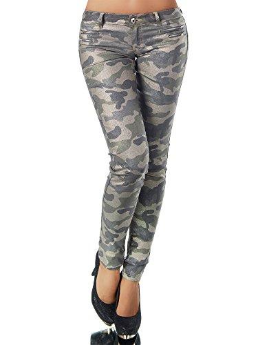 L521 Damen Jeans Hose Hüfthose Damenjeans Hüftjeans Röhrenjeans Leder-Optik, Größen:38 (M), Farben:Camouflage-Olivgrün