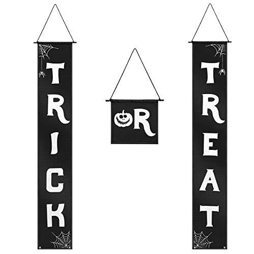 Vosarea Süßes oder Saures Halloween Banner Halloween Hängeschild für Veranda Haustür Halloween Dekorationen schwarz